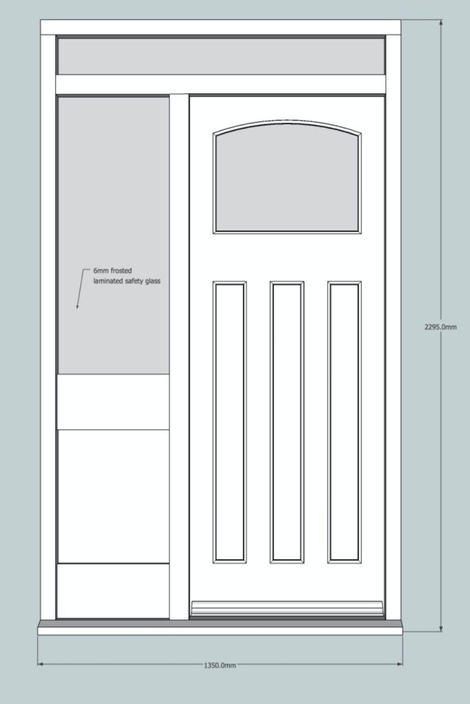 Sketch of 1930's front door and frame, Palmers Green N13