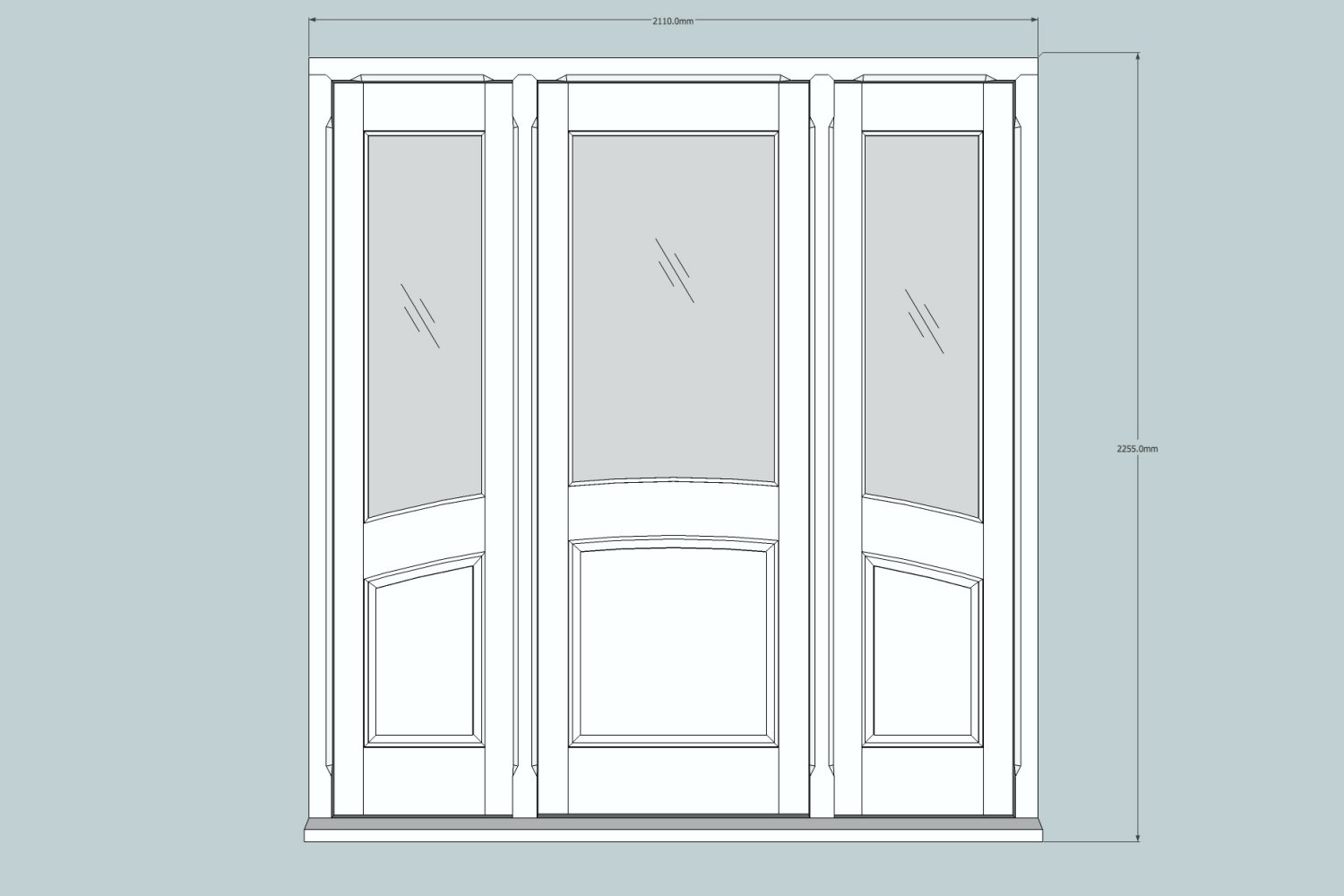 CAD drawing of oak entry door system, Palmers Green N13