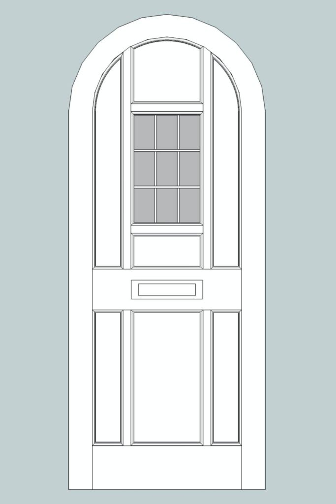 CAD drawing of sapele front door, Winchmore Hill N21