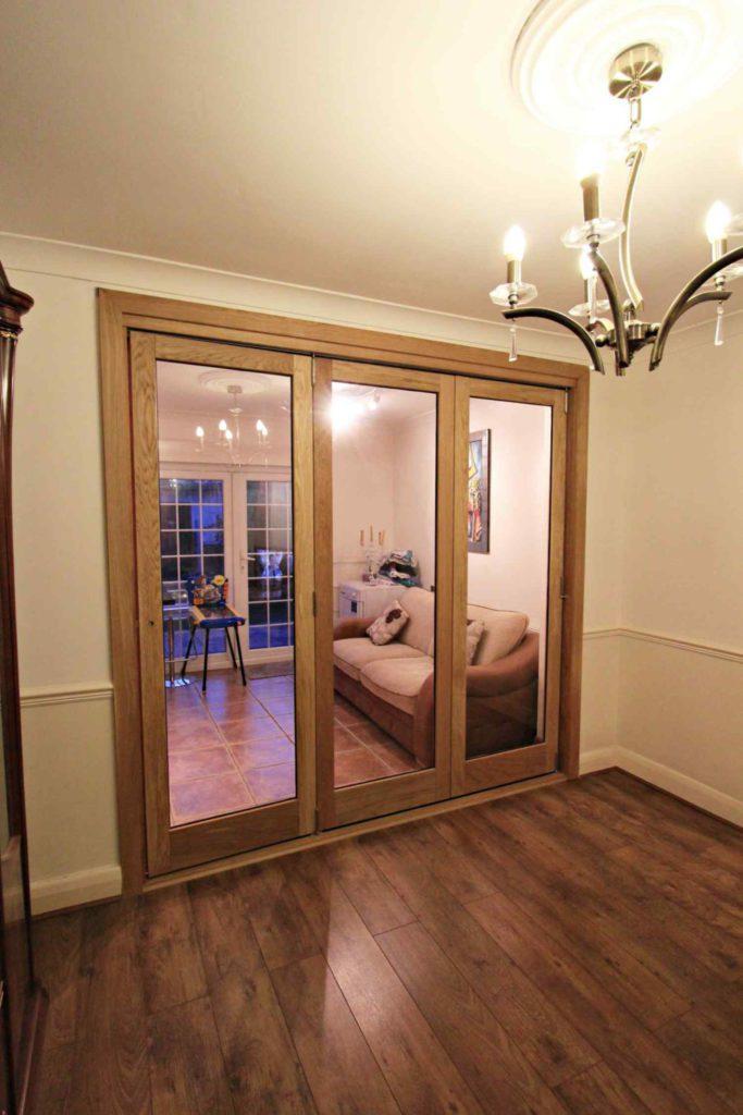 Oak bi-folding doors, single glazed, made to measure, Enfield, EN2
