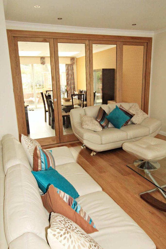 Internal single glazed oak bi-folding doors, made to measure, Wichmore Hill, N21