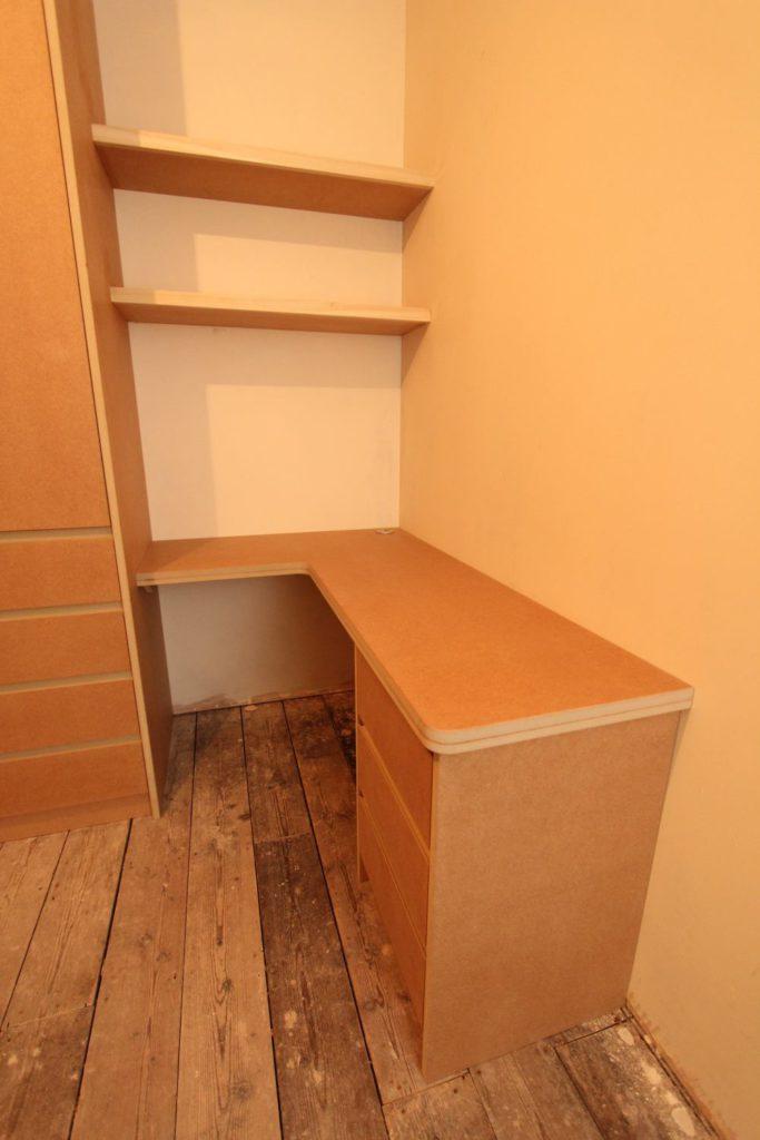 Bespoke fitted MDF desk and shelves, Enfield EN1