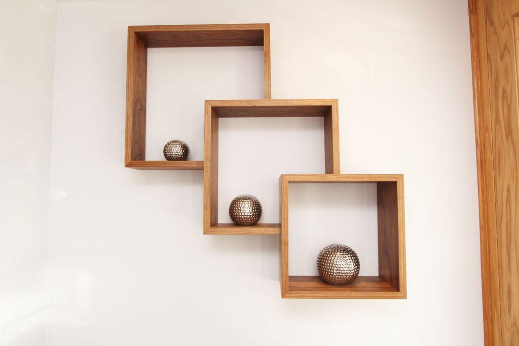 Handmade walnut floating box shelves, Palmers Green N13