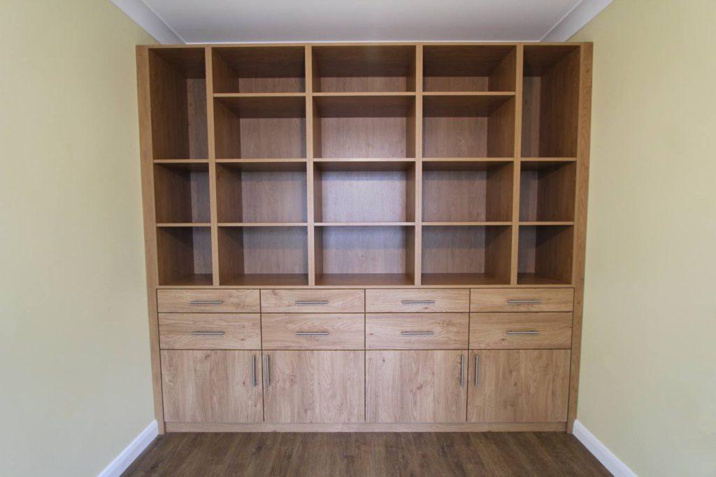 Built in oak storage display cabinet, Winchmore Hill, N21