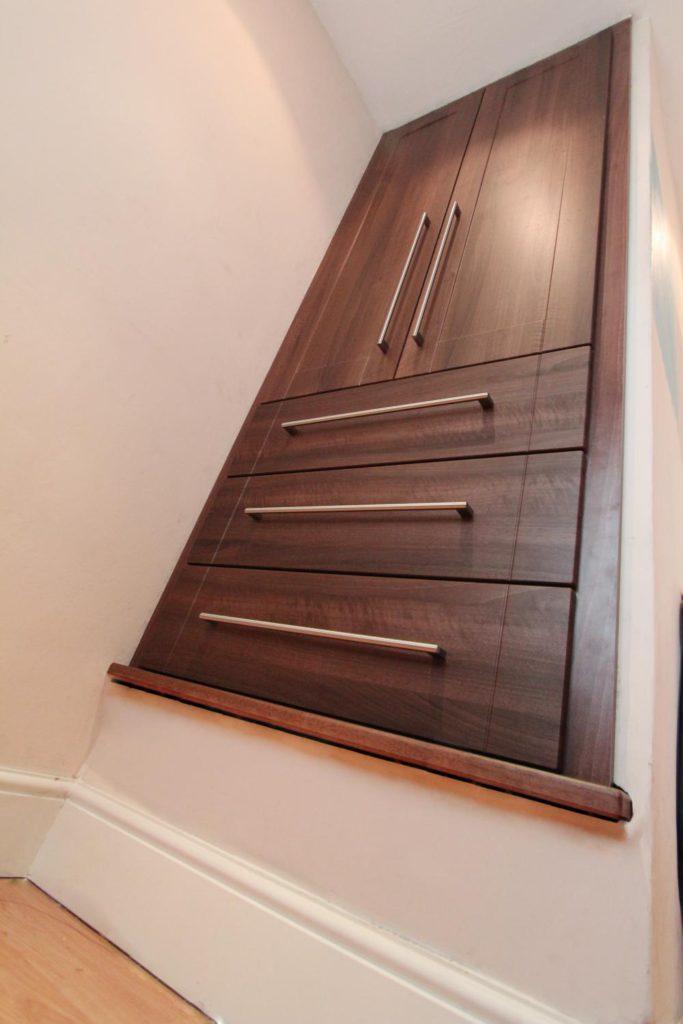 Built in walnut wardrobe