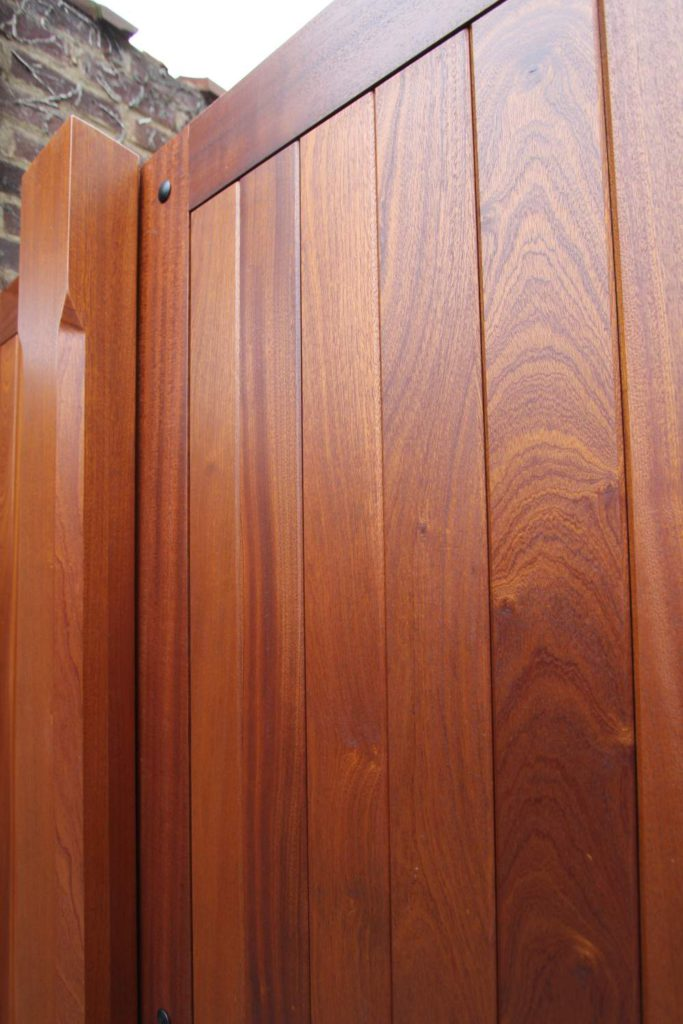 Crown cut and ribbon Sapele hardwood close up, Winchmore Hill N21