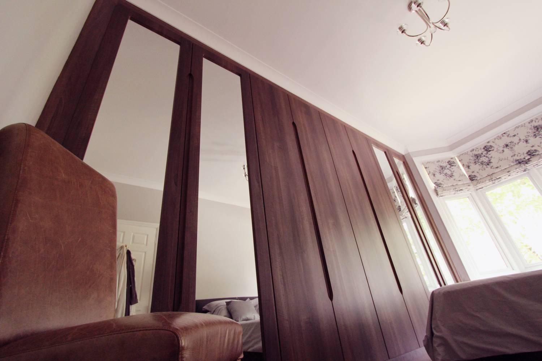 Built In Mirrored Walnut Wardrobe, Palmers Green, N13