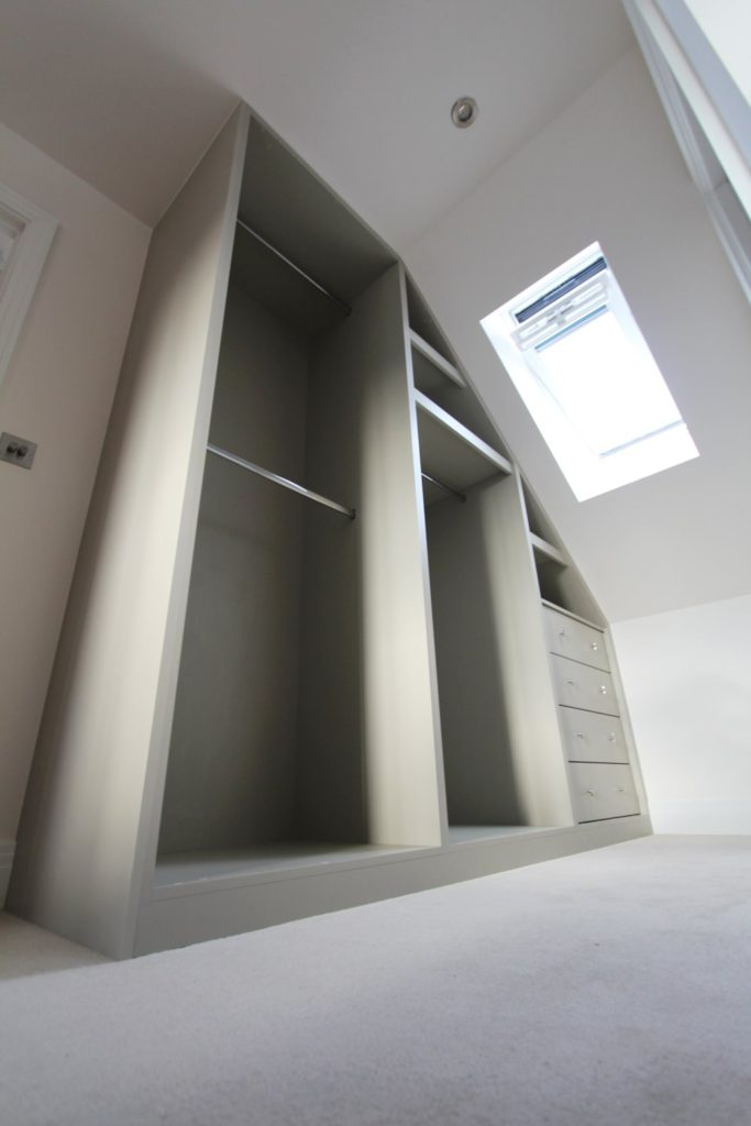 Fitted angled wardrobe interior, Enfield, EN2