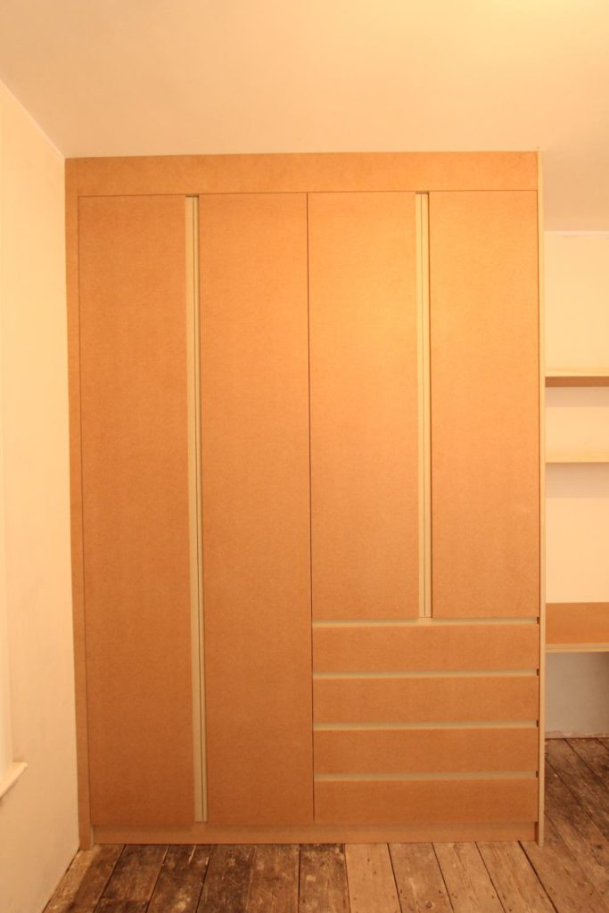 Modern wardrobes with drawers and integrated handles, Enfield EN1