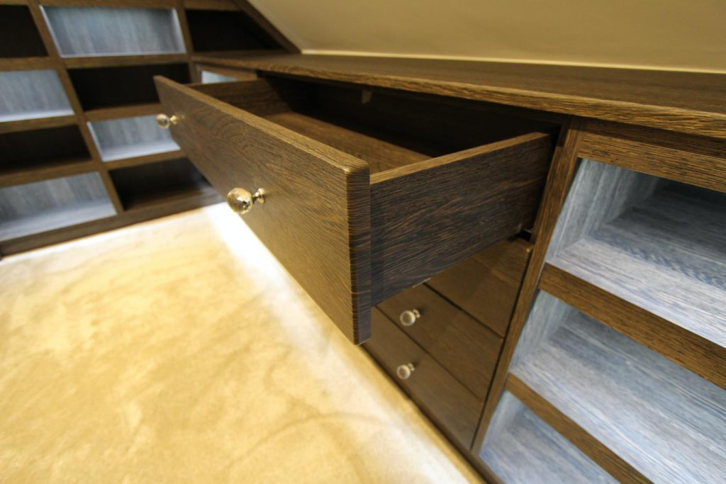 Handmade drawer boxes with concealed drawer runners, Winchmore Hill