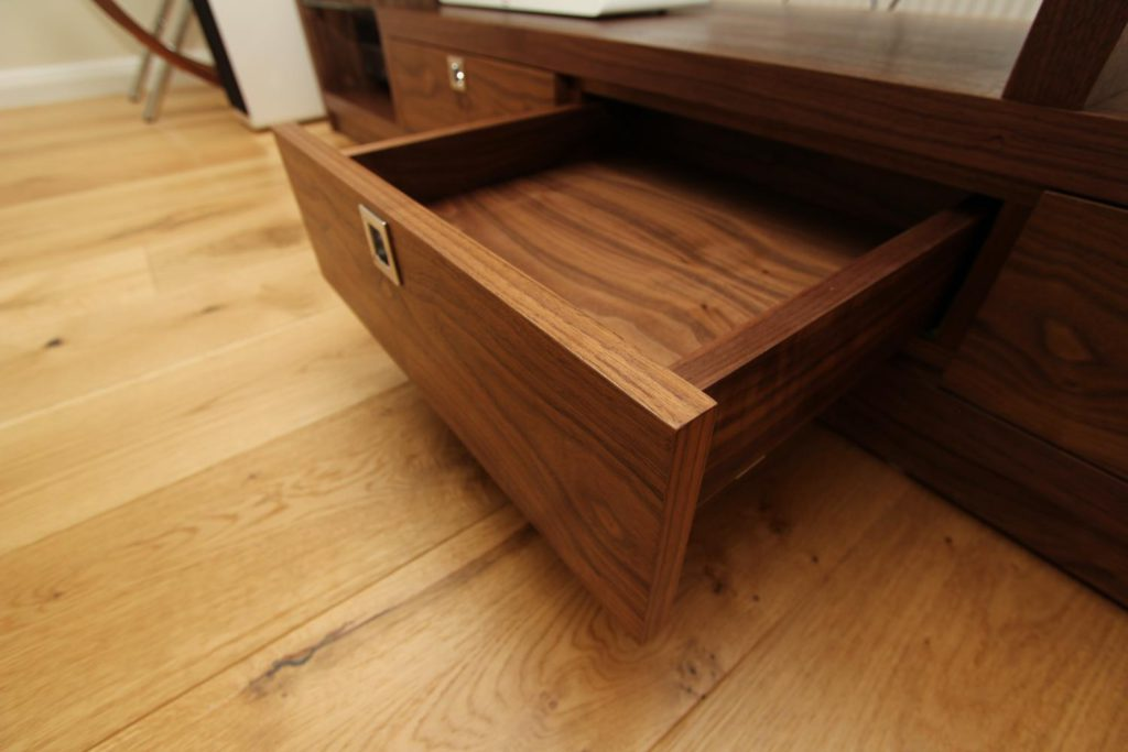 Close up of solid walnut drawer, Palmers Green N13