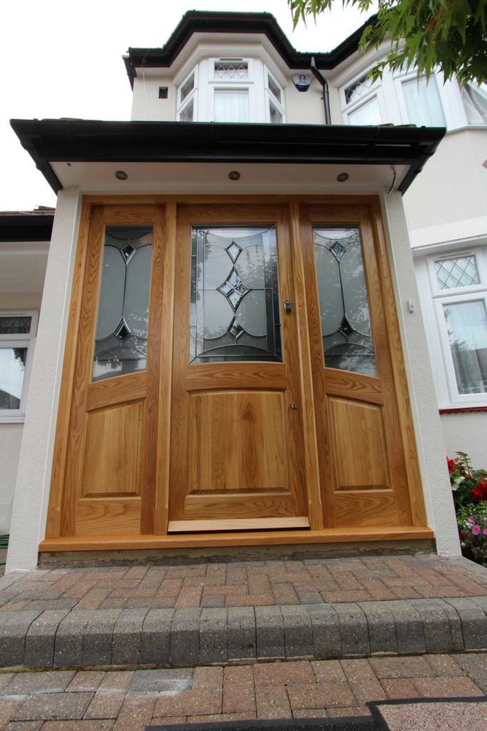 Front view of solid oak entry door, Palmers Green N13