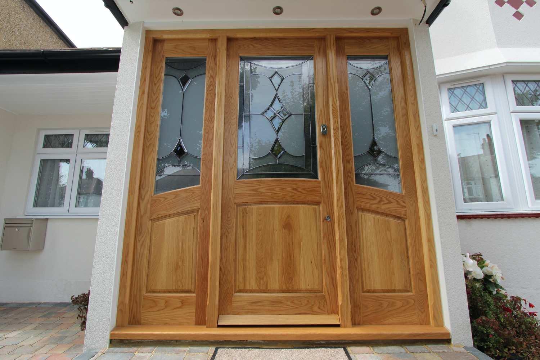 Bespoke designer hardwood oak entry door and frame, Palmers Green N13