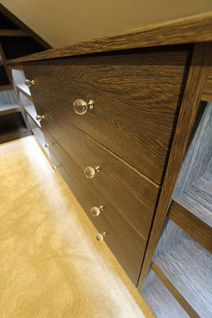 Close up of drawer unit with crystal cut knobs, N21