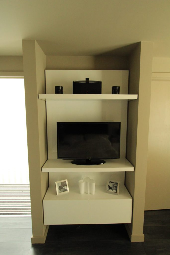 Bespoke contemporary alcove fitted entertainment furniture, Winchmore Hill, N21