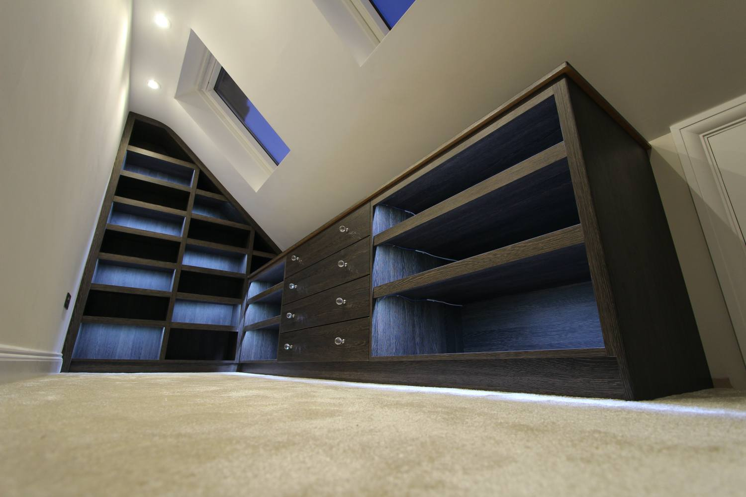 Shoe shelving and drawers with LED lights on, Winchmore Hill N21