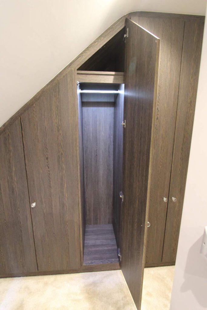 Mali Wenge fitted angled wardrobe interior, N21