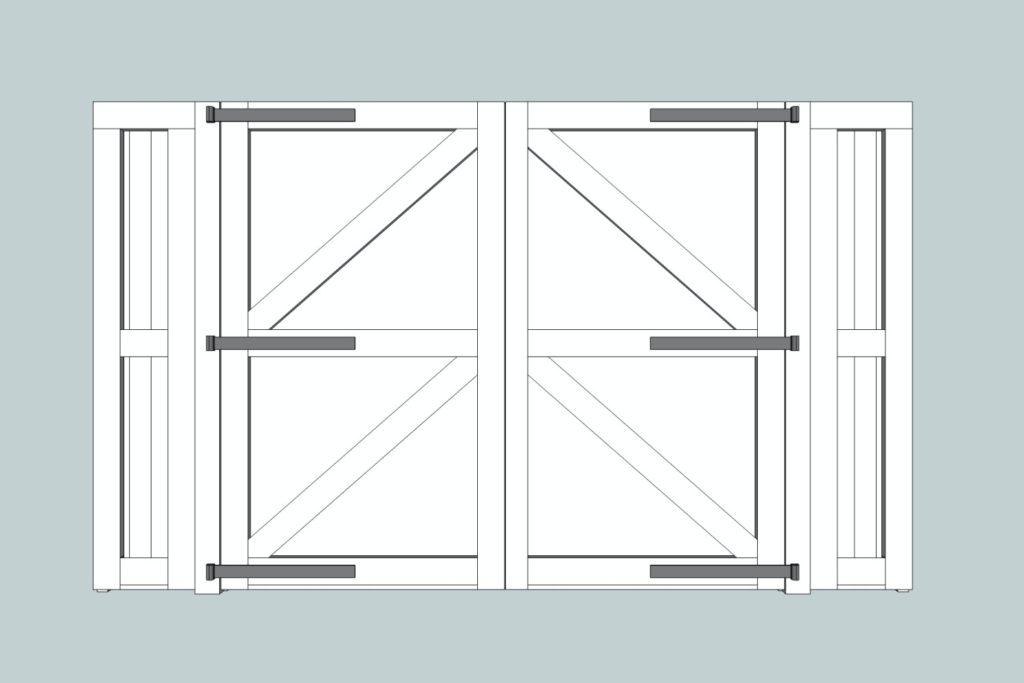Rear sketch of hardwood gates