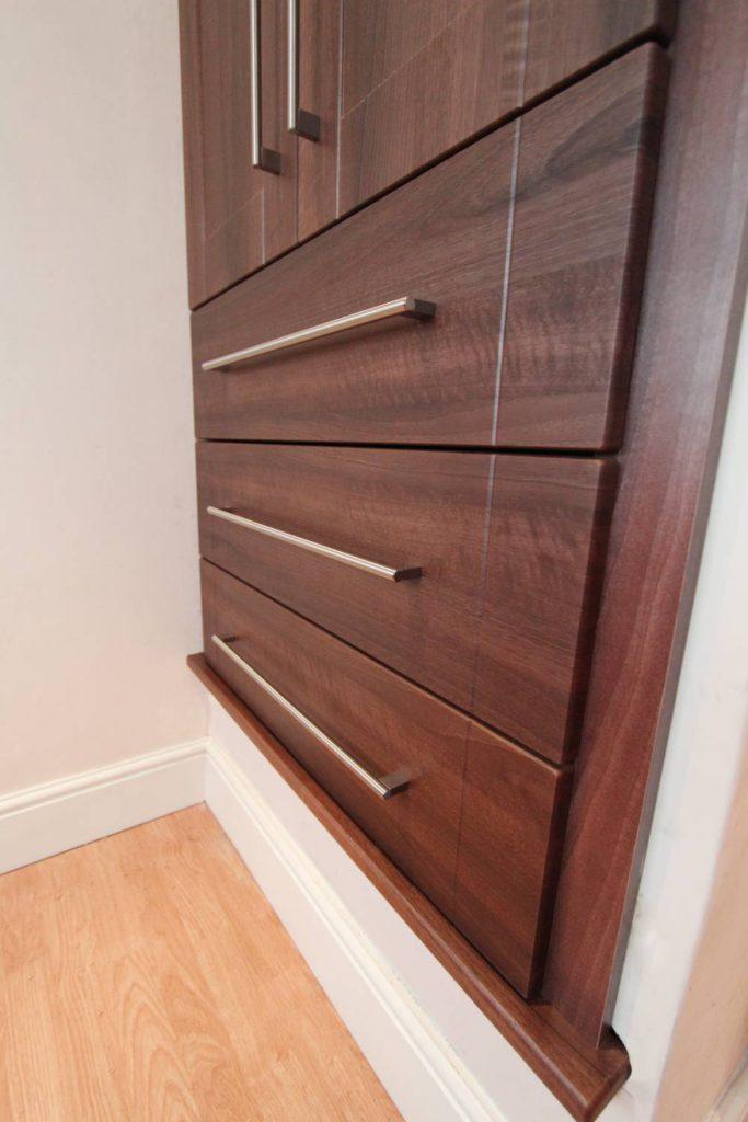 Shaker style walnut drawers