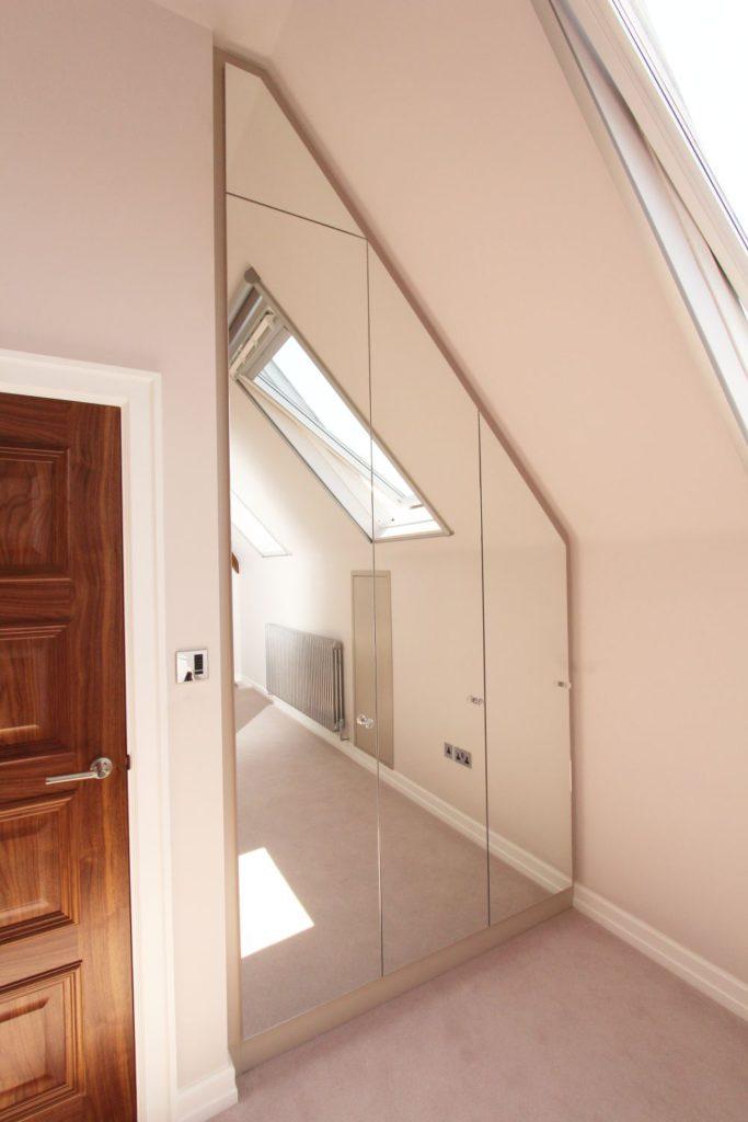 Alcove fitted angled mirrored wardrobe, Sevenoaks