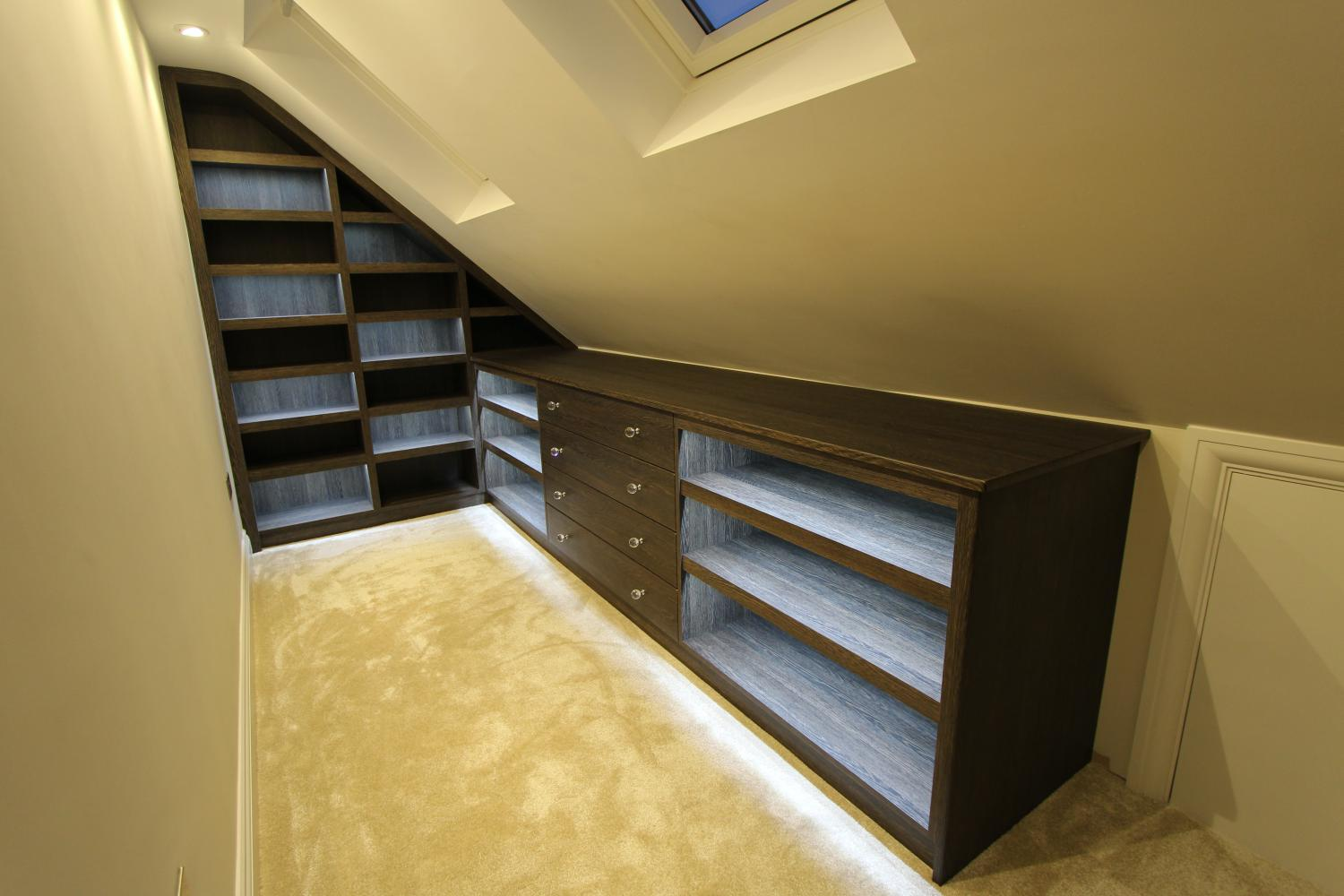 Loft space fitted bedroom shoe display with drawers, Winchmore Hill N21