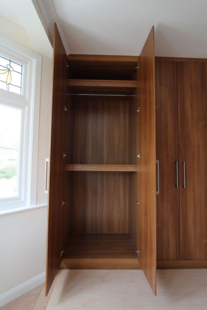 Walnut wardrobe hanging space, Winchmore Hill, N21
