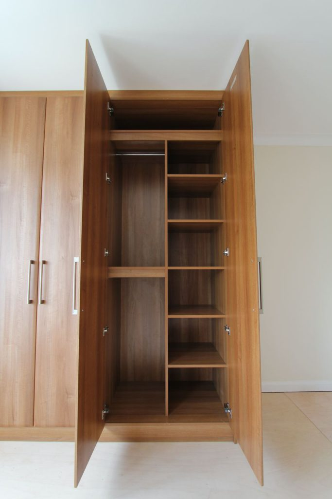 Walnut wardrobe internal hanging and shelving space, Winchmore Hill, N21
