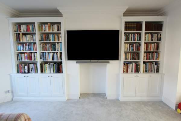 Bespoke alcove bookshelves